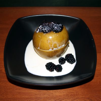 Blackberry stuffed baked apple