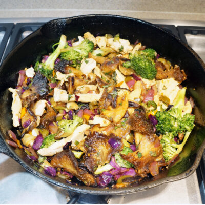 Oyster mushroom dish that can be prepared with or without chicken for an easy vegetarian option